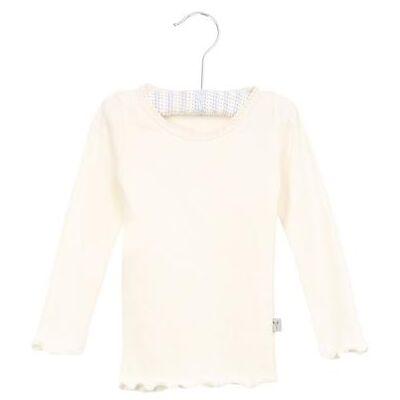Wheat Rib Shirt Lace ivory - hvid - Gr.fra 3 mdr. - Pige - Børnetøj - Array
