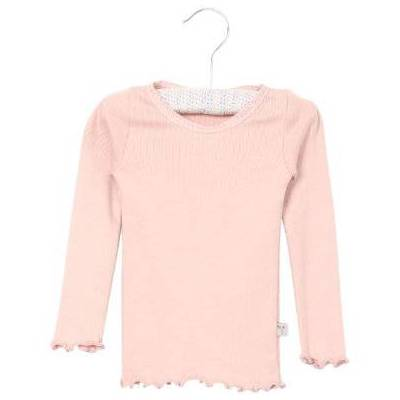 Wheat Rib Shirt Lace powder - rosa/pink - Gr.fra 9 mdr. - Pige - Børnetøj - Array