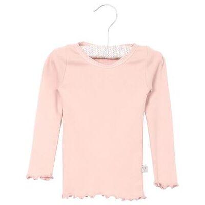 Wheat Rib Shirt Lace powder - rosa/pink - Gr.fra 1 år - Pige - Børnetøj - Array