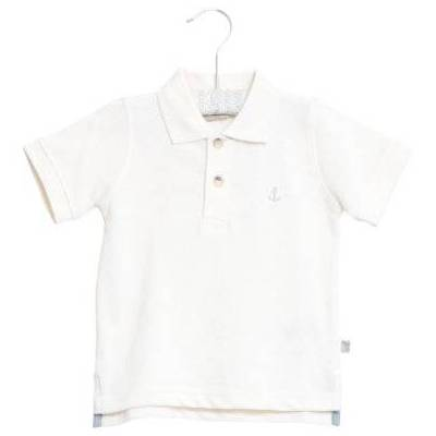 WHEAT  Poloshirt Anchor white - hvid - Gr.fra 6 år - Dreng - Børnetøj - Array