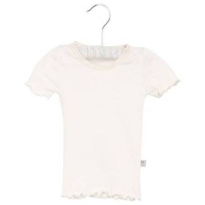 Wheat Rib T-Shirt Lace ivory - hvid - Pige - Børnetøj - Array