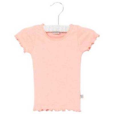 Wheat Rib T-Shirt Lace blossom - rosa/pink - Gr.fra 4 år - Pige - Børnetøj - Array