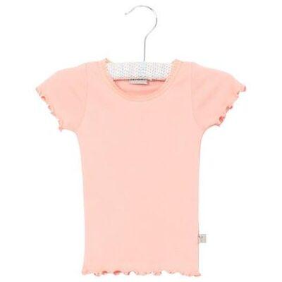 Wheat Rib T-Shirt Lace blossom - rosa/pink - Gr.fra 5 år - Pige - Børnetøj - Array