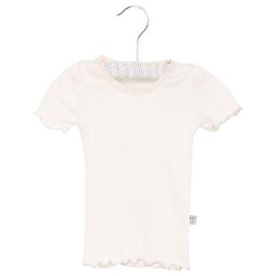 Wheat Rib T-Shirt Lace ivory - hvid - Gr.fra 3 mdr. - Pige - Børnetøj - Array