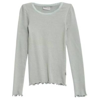 WHEAT Rib Shirt Lace LS slategrey - grøn - Gr.fra 4 år - Pige - Børnetøj - Array