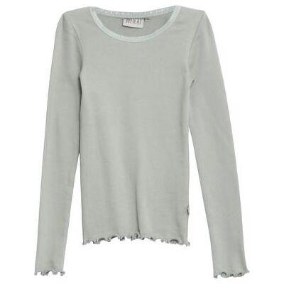 WHEAT Rib Shirt Lace LS slategrey - grøn - Pige - Børnetøj - Array