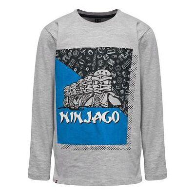 Lego wear NINJAGO Langærmet shirt Grey Melange - grå - Gr.122 - Dreng - Børnetøj - Lego