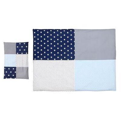 Ullenboom Børnesengetøjs-Sæt Blå Grå 135 x 100 cm + 40 x 60 cm - flerfarvet - Børnetøj - Array