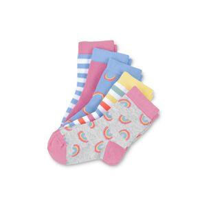 Tchibo 5 par sokker, Tchibo 1x Blå-hvidstribet, 1x blå med regnbuer, 1x lyserød, 1x gråmeleret med flerfarvede regnbuer, 1x hvid med flerfarvede striber 23-26