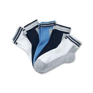 Tchibo 5 par sportsankelsokker, Tchibo 2x grå-hvid, 2x mørkeblå-grå, 1x Blå 31-34