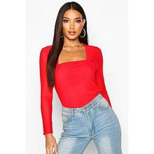 Mesh Square Neck Long Sleeve Top  red 36 Female