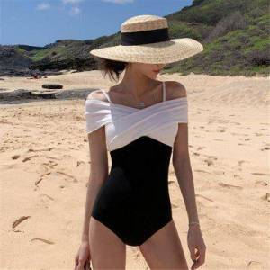 South Korea Ins Hot Spring Swimsuit Female Fairy Fan One Piece Belly Slimming Sexy Small Chest Gathered Students Conservative Swimsuit