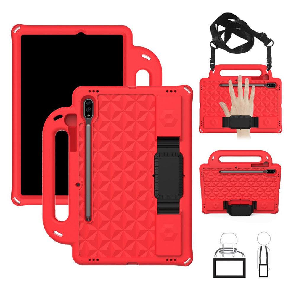 TABLETCOVERS.DK Samsung Galaxy Tab S7 Håndværker Cover m. Pencil Holder, Bærestrop & Skulderstrop - Rød