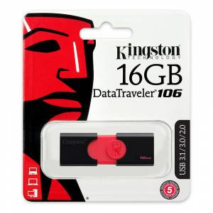 Kingston USB Stik - USB 3.0 DataTraveler DT106 - 16GB Sort/Rød
