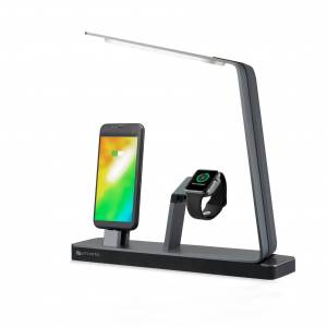 4smarts LoomiDock Charging Station w. LED Lamp For Apple Devices Sort / Sølv'