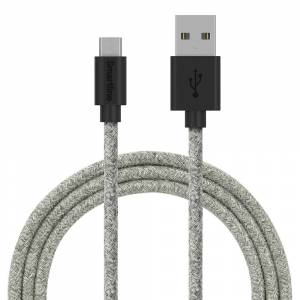 Smartline Fuzzy USB-A til Micro USB Kabel 2 m. - Grå