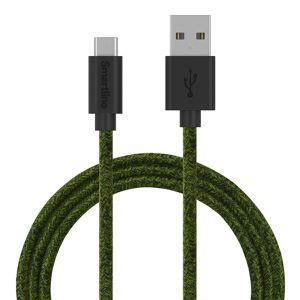 Smartline Fuzzy (3A/15W) USB2.0 - USB-C Kabel 2 m. - Mørkegrøn