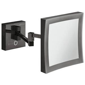 Smart og tidløs makeup spejl med 5 gange forstørrelse og lys i grafit sort messing