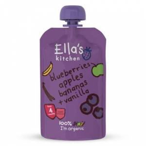 Ellas Kitchen Ella's Kitchen Babymos Blåbær, Æble, Banan, Vanilje 4 Mdr (120 g)