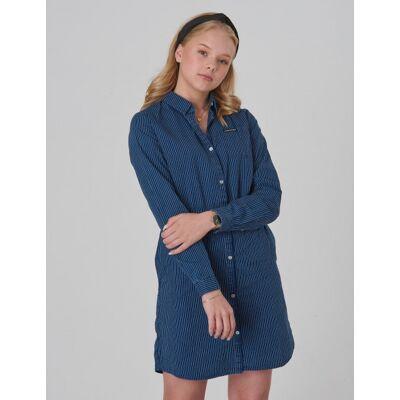 Calvin Klein, SHIRT DRESS BLUE STRIPE RIGID, Blå, Kjoler/nederdele till Pige, 14 år - Børnetøj - Calvin