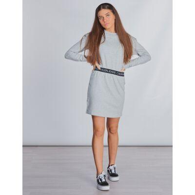 Calvin Klein, LOGO WAISTBAND DRESS, Grå, Kjoler/nederdele till Pige, 10 år - Børnetøj - Calvin