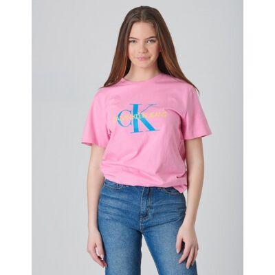 Calvin Klein, MONOGRAM OCO REGULAR TEE, Rosa, T-shirt/toppe till Pige, 14 år - Børnetøj - Calvin