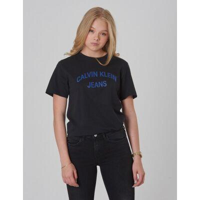 Calvin Klein, LOGO ORGANIC COTTON TEE, Sort, T-shirt/toppe till Pige, 10 år - Børnetøj - Calvin