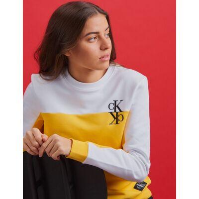 Calvin Klein, COLOUR BLOCK MONOGRAM SWEATSHIRT, Gul, Trøjer/Cardigans till Pige, 16 år - Børnetøj - Calvin