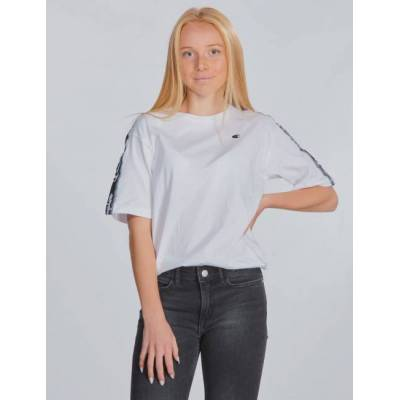 Champion, Crewneck T-Shirt, Hvid, T-shirt/toppe till Pige, M - Børnetøj - Champion
