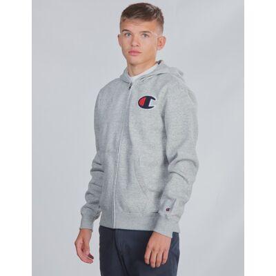 Champion Rochester, Hooded Full Zip Sweatshirt, Grå, Hættetrøjer till Dreng, M - Børnetøj - Champion Rochester