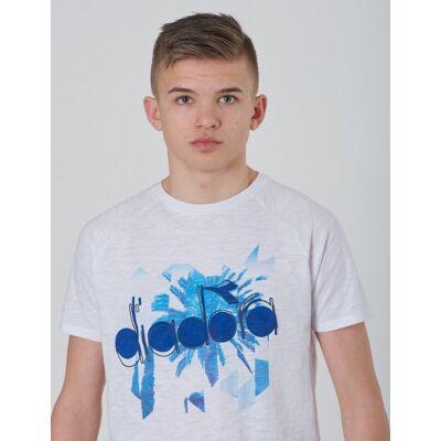 Diadora, SS T-SHIRT 5 PALLE, Hvid, T-shirt/toppe till Dreng, XXL - Børnetøj - Diadora