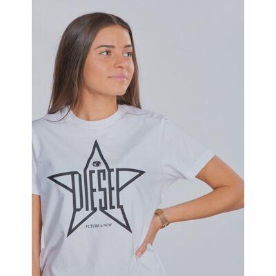 Diesel, TDIEGOYH T-SHIRT, Hvid, T-shirt/toppe till Pige, 12 år - Børnetøj - Diesel