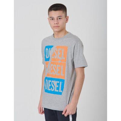 Diesel, TJUSTZC OVER T-SHIRT, Grå, T-shirt/toppe till Dreng, 14 år - Børnetøj - Diesel