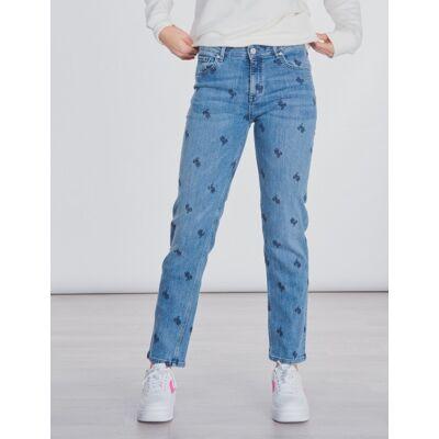 Gant, AO EMBROIDERED CROPPED JEAN, Blå, Jeans till Pige, 176 cm - Børnetøj - Gant