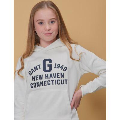 Gant, COLLEGIATE GANT SWEAT HOODIE, Hvid, Hættetrøjer till Pige, 146-152 - Børnetøj - Gant