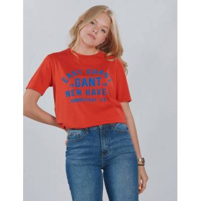 Gant, GANT COLLEGIATE PRINT SS T-SH, Orange, T-shirt/toppe till Pige, 134-140 - Børnetøj - Gant