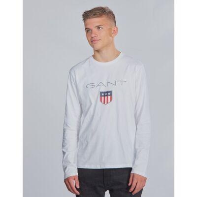 Gant, SHIELD LOGO LONG SLEEVE, Hvid, T-shirt/toppe till Dreng, 170 cm - Børnetøj - Gant