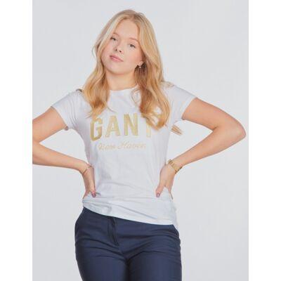 Gant, SHINY GANT T-SHIRT, Hvid, T-shirt/toppe till Pige, 134-140 - Børnetøj - Gant