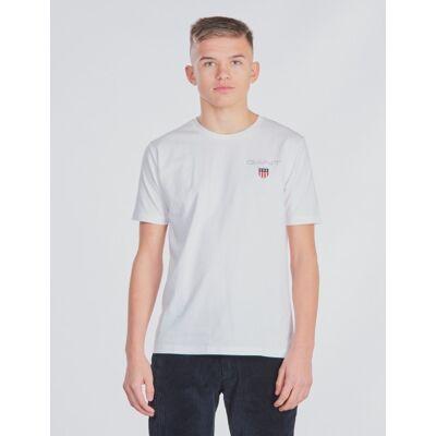Gant, MEDIUM SHIELD T-SHIRT, Hvid, T-shirt/toppe till Dreng, 176 cm - Børnetøj - Gant