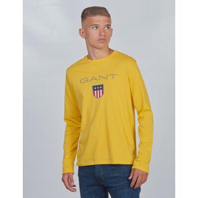 Gant, SHIELD LOGO LONG SLEEVE, Gul, T-shirt/toppe till Dreng, 146-152 - Børnetøj - Gant