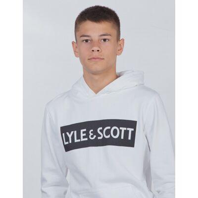 Scott Lyle & Scott, Block Logo OTH Hoody Fleece, Hvid, Hættetrøjer till Dreng, 10-11 år - Børnetøj - Scott