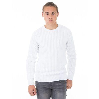 MarQy Classic, Cable Knit, Hvid, Trøjer/Cardigans till Dreng, 122-128 - Børnetøj - MarQy Classic