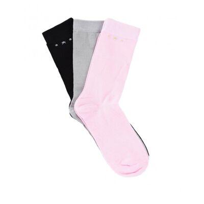 Marqy Girl, Leowe Socks 3-pack, Multi, Strømper/Sokker till Pige, 39-42 - Børnetøj - Marqy Girl