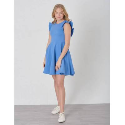 Ralph Lauren, RUFFLE DRESS-DRESSES-KNIT, Blå, Kjoler/nederdele till Pige, XL - Børnetøj - Ralph Lauren