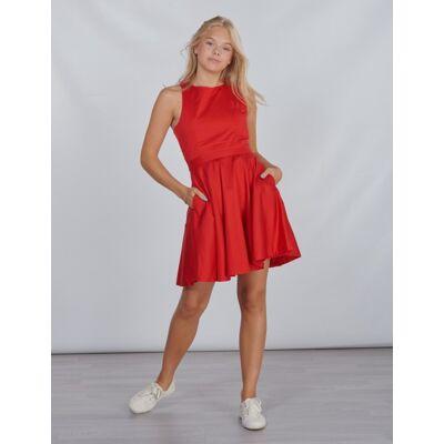 Ralph Lauren, SOLID DRESS-DRESSES-WOVEN, Rød, Kjoler/nederdele till Pige, Size 8 - Børnetøj - Ralph Lauren