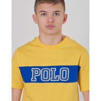Ralph Lauren, PIECED TEE-TOPS-T-SHIRT, Gul, T-shirt/toppe till Dreng, XL - Børnetøj - Ralph Lauren