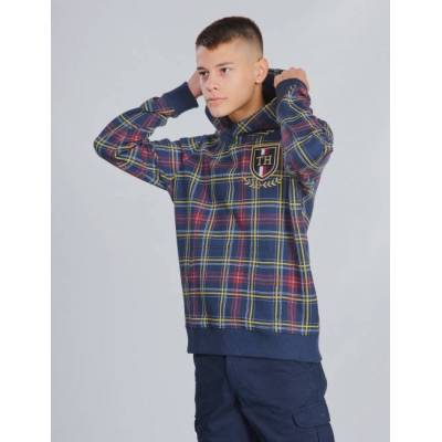 Tommy Hilfiger, U PRINTED CHECK HOODIE, Blå, Hættetrøjer till Dreng, 10 år - Børnetøj - Tommy Hilfiger