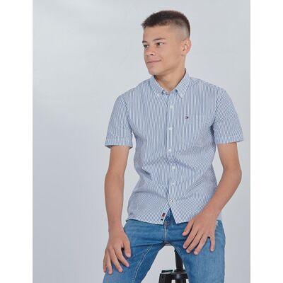 Tommy Hilfiger, SEERSUCKER SHIRT S/S, Blå, Skjorter till Dreng, 16 år - Børnetøj - Tommy Hilfiger
