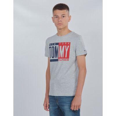 Tommy Hilfiger, PUFF PRINT TEE S/S, Grå, T-shirt/toppe till Dreng, 10 år - Børnetøj - Tommy Hilfiger