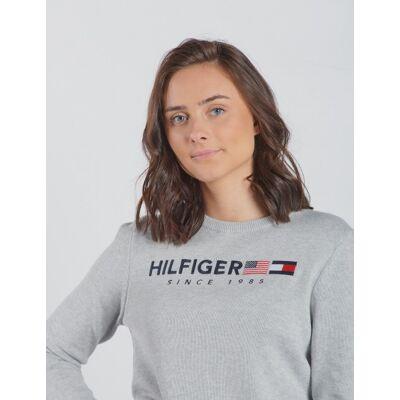 Tommy Hilfiger, HILFIGER FLAG SWEATER, Grå, Trøjer/Cardigans till Pige, 14 år - Børnetøj - Tommy Hilfiger